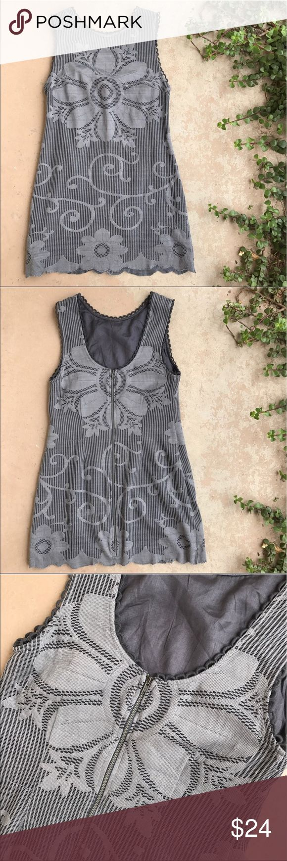 Free People Gray Crochet Boho Floral Mini Dress Lovely gray lace mini dress by New Romantics by Free People. The material is delicate so there are a few tiny snags (see last pic) but it adds to the distressed look Free People is known for. Overall great condition! No stains, holes, rips, etc. Size 2. Free People Dresses Mini