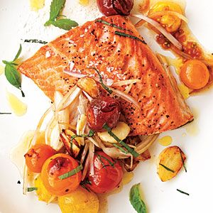 Arctic Char with Blistered Cherry Tomatoes (20 minute meal) SO GOOD. Hard to find char though, tried subbing salmon, not as good.