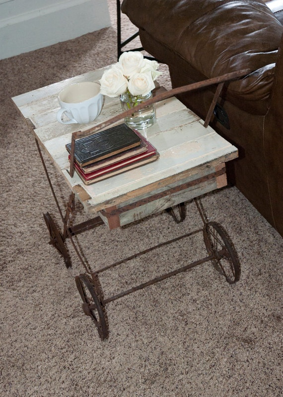 Repurposed Baby Carriage Frame Side Table Reclaimed Wood