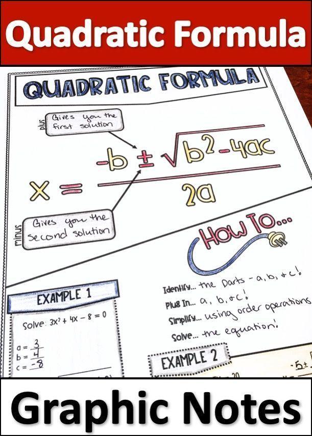 Quadratic Formula Graphic Notes   Mathematics   Maths algebra