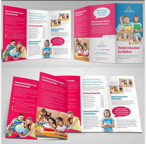 Brosur Sekolah - Education School Trifold Brochure Template