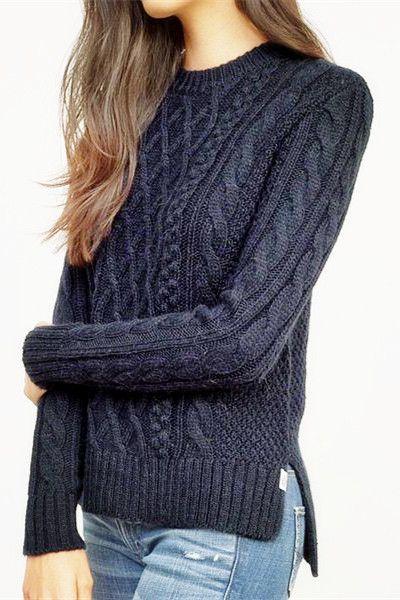 Knit high/low side slit sweater