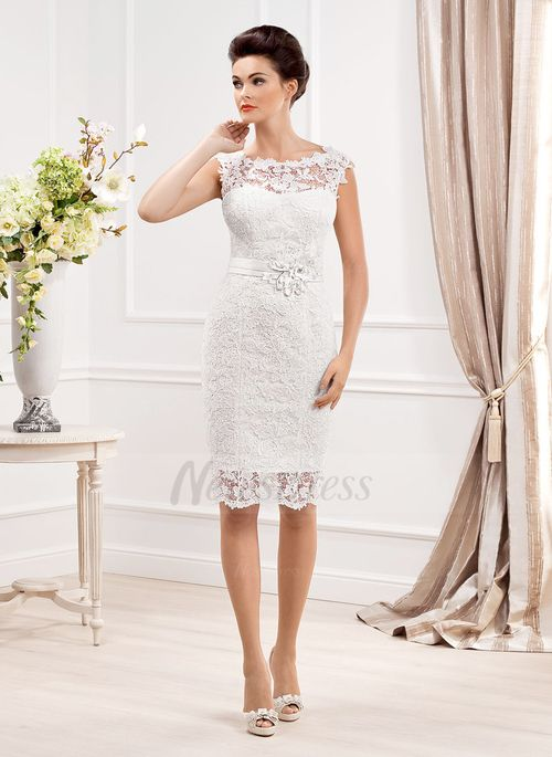 Sheath/Column Scoop Neck Knee-Length Beading Lace Covered Button Cap Straps Sleeveless Hall Reception No Spring Summer Fall White Wedding Dress