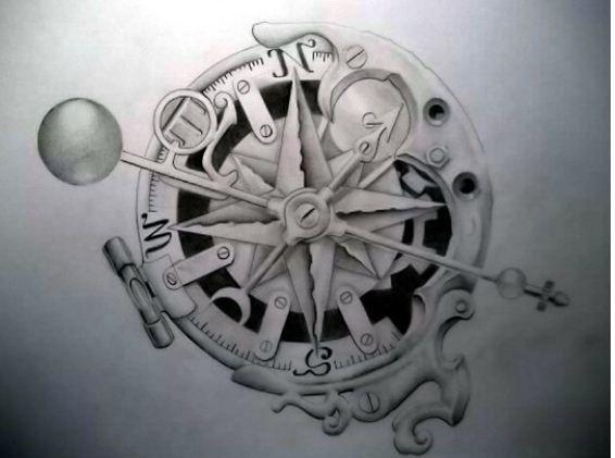 Tatuaggio rosa dei venti stella polare e bussola ... Antique Compass Rose Tattoo