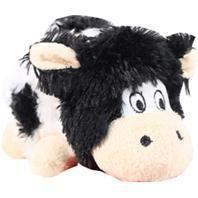 Kong Company-Barnyard Cruncheez Cow Dog Toy- Black/white Small