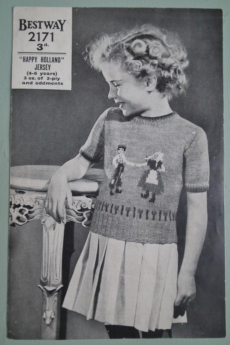 Vintage Knitting Pattern 1930s 1940s Childrens Girls Sweater Jumper...