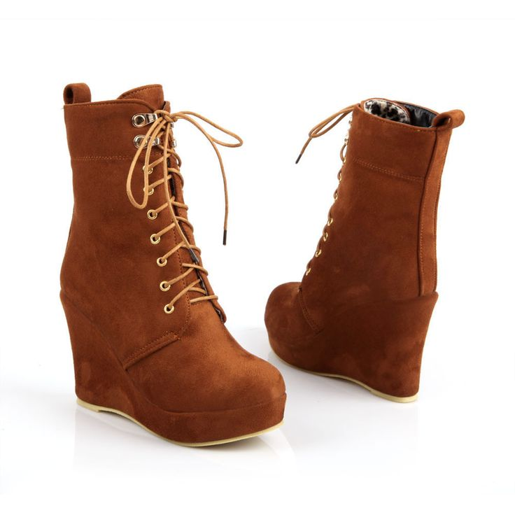 Fashion Lace-Up Comfortable Wedges Ankle Boots