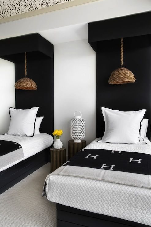 Lonny Magazine - bedrooms - black and white bedroom, twin headboards, twin black headboard, floor to ceiling headboard, black headboard, wov...