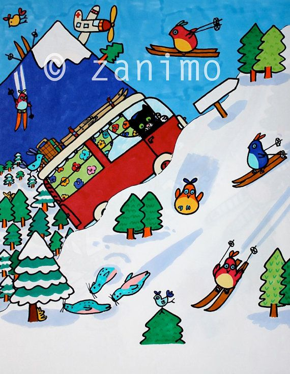 Gofrette going skiing with his best friend taken from by Zanimo, $20.00