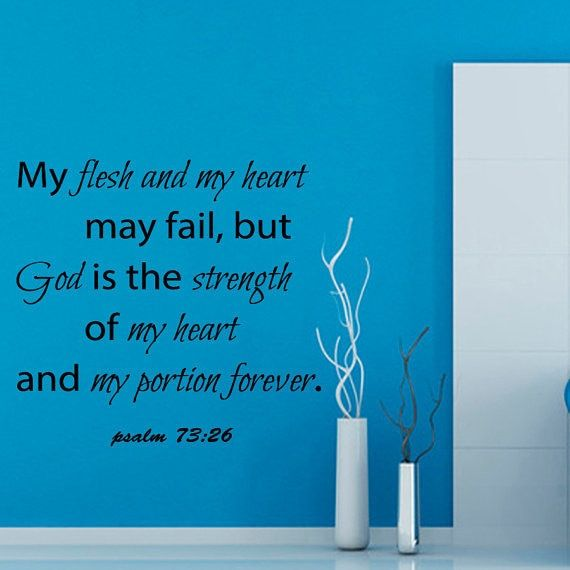 Psalm 73:26 Lord Wall Quotes God Is The Strength Verses Vinyl Wall Art Nursery Room Decor Sticker Decal size 22x22 Color