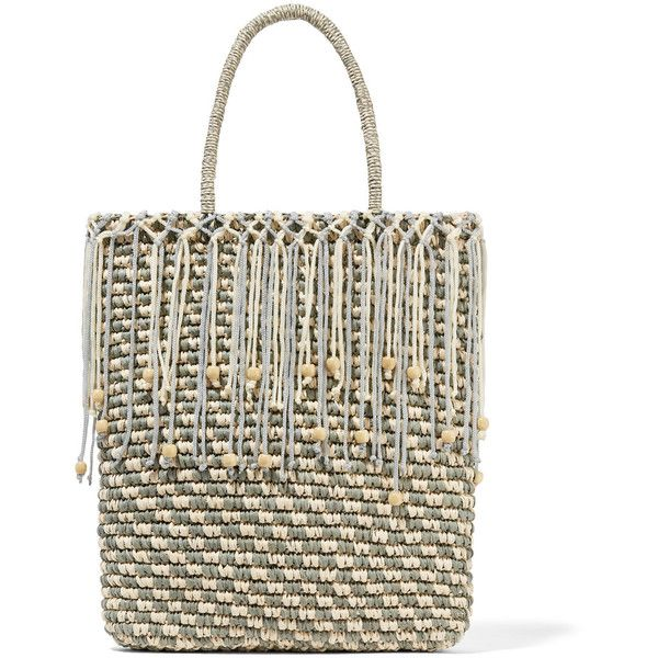 Sensi Studio Trinado embellished woven toquilla straw tote (405 BRL) ❤ liked on Polyvore featuring bags, handbags, tote bags, ecru, straw tote, beaded purse, straw tote bags, handbag tote and straw handbags