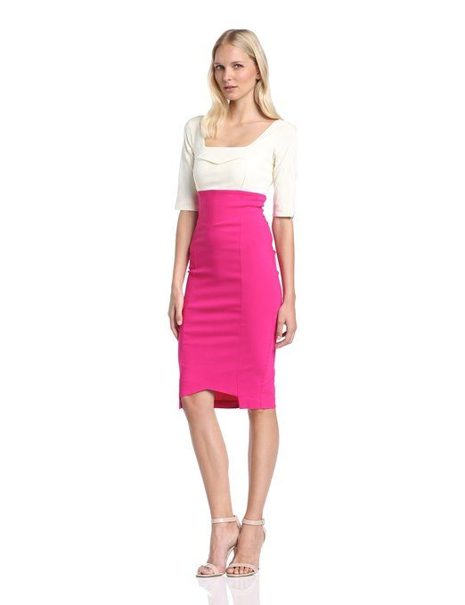 Hybrid Women's Henley 3/4 Sleeve Two Tone High Waist Pencil Dress, Cream/Hot Pink, Size 8: Amazon.co.uk: Clothing