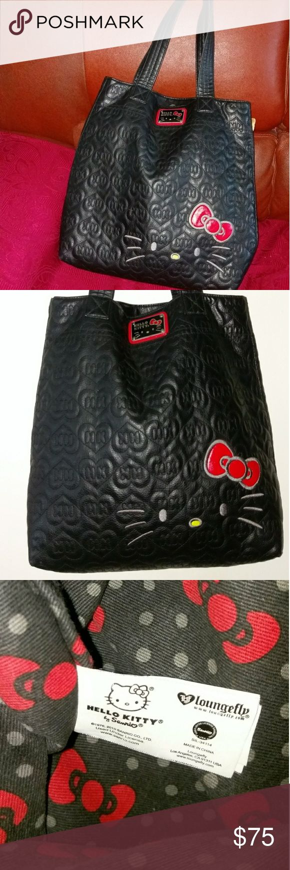 """Hello Kitty lovers rejoice!!! black lattice bag Authentic Hello Kitty Loungefly Excellent condition Black on black lattice monogram HK Approx 17X17 body North-South design Shoulder to bottom approx  27""""L Fully lined Prominent logo in front. HK will not be denied:) As shown in photos  Note:*****inside zipper broken. No zipper pull. Hence, the price. Hello Kitty Bags Shoulder Bags"""