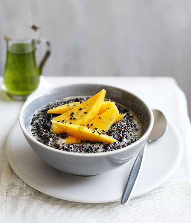 Black quinoa with coconut, mango and kaffir lime syrup :: Gourmet Traveller Magazine Mobile
