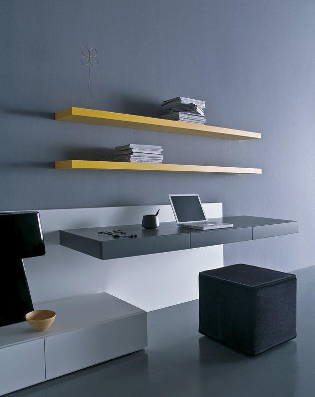 Perfekcyjna Kombinacja #modern #style #pouf #internoitaliano. Study  OfficeHouse DesignDesksSpaPoufsMinimalist OfficeShelvingFloating Shelves Bookcases