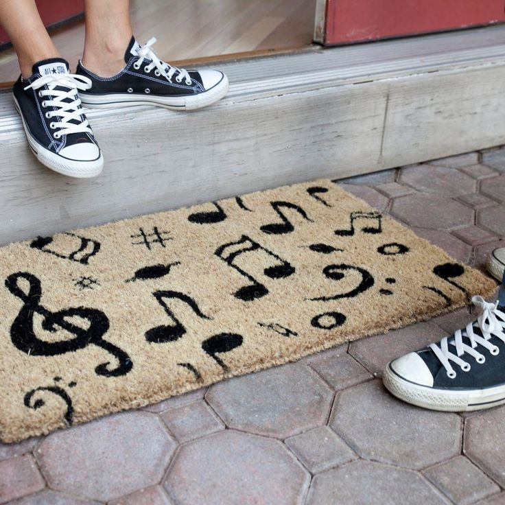 Notes - doormat with musical notes, black and bleached - 18 in. x 30 in. Hand Woven Coconut Fiber Door Mat-1076S by Entryways