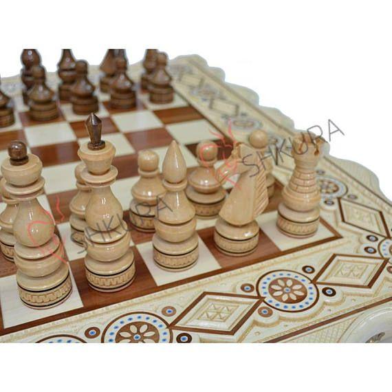 121$ Wooden Chess Set / Backgammon Set Chess board wood Chess