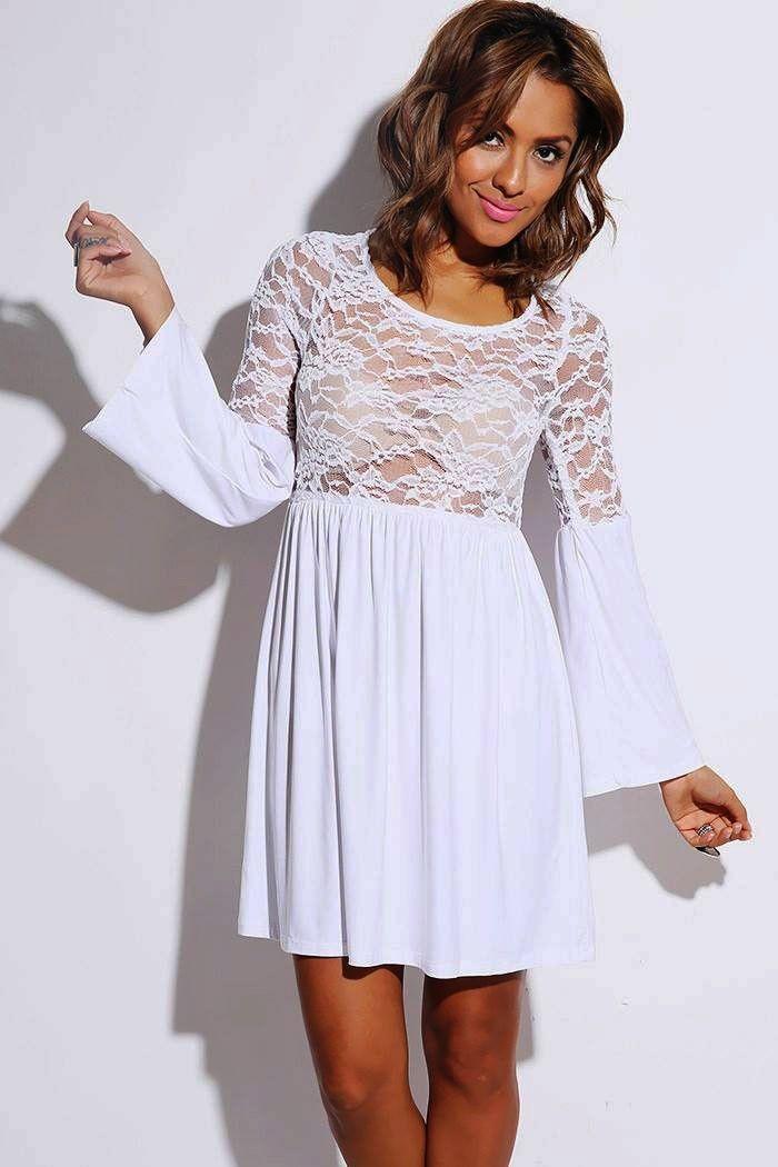 White Sheer Lace Bell Sleeve Retro Party Skater Dress Tag: white skater dress