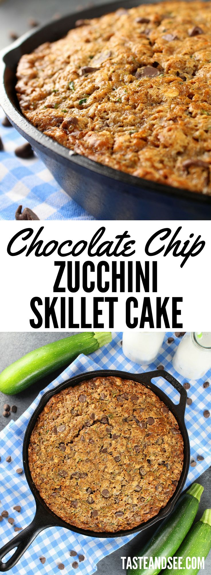 Chocolate Chip Zucchini Skillet Cake - Full of oats, chocolate chips, cinnamon, ginger and of course shredded zucchini - creating the most delicious and moist zucchini bread ever!  https://tasteandsee.com