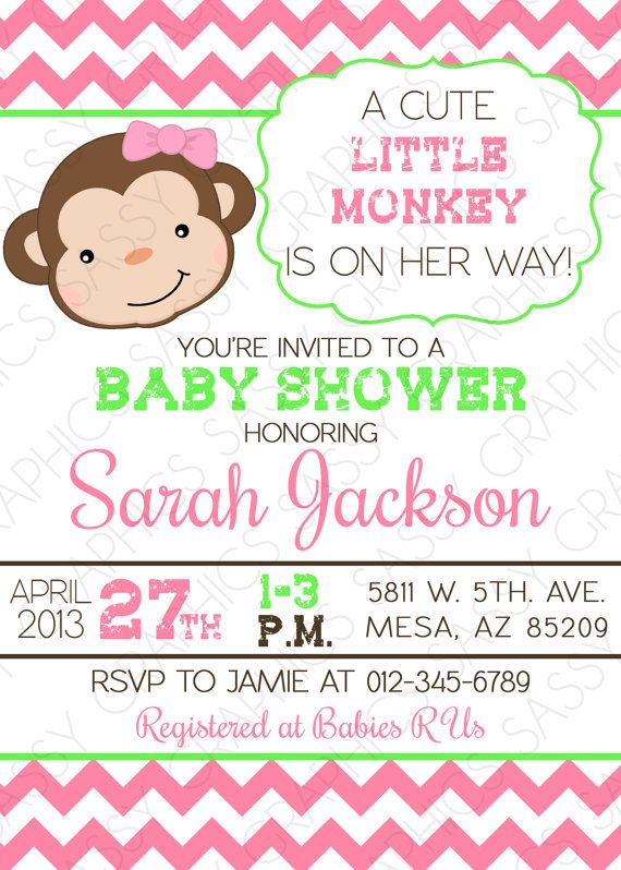 Girls Baby Shower Invitation Monkey Theme, Chevron, Pink, Green, By  Sassygfx,