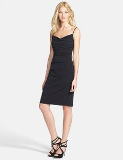 Laundry by Shelli Segal Spaghetti Strap Ruched Jersey Dress