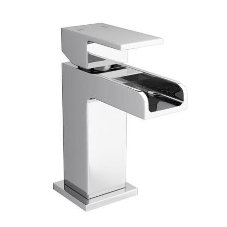 Plaza Waterfall Cloakroom Mini Basin Tap with Click Clack Waste