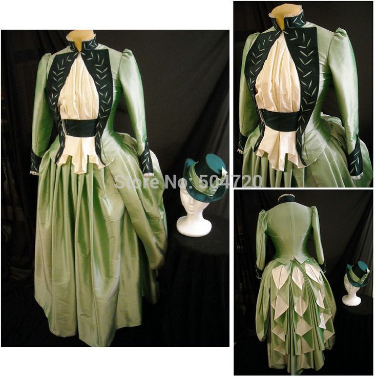 Década de 1860 traje de la vendimia gótica victoriana del siglo vestido victoriano Lolita / Renacimiento Guerra Civil vestir vestidos de Halloween Todo el tamaño(China (Mainland))