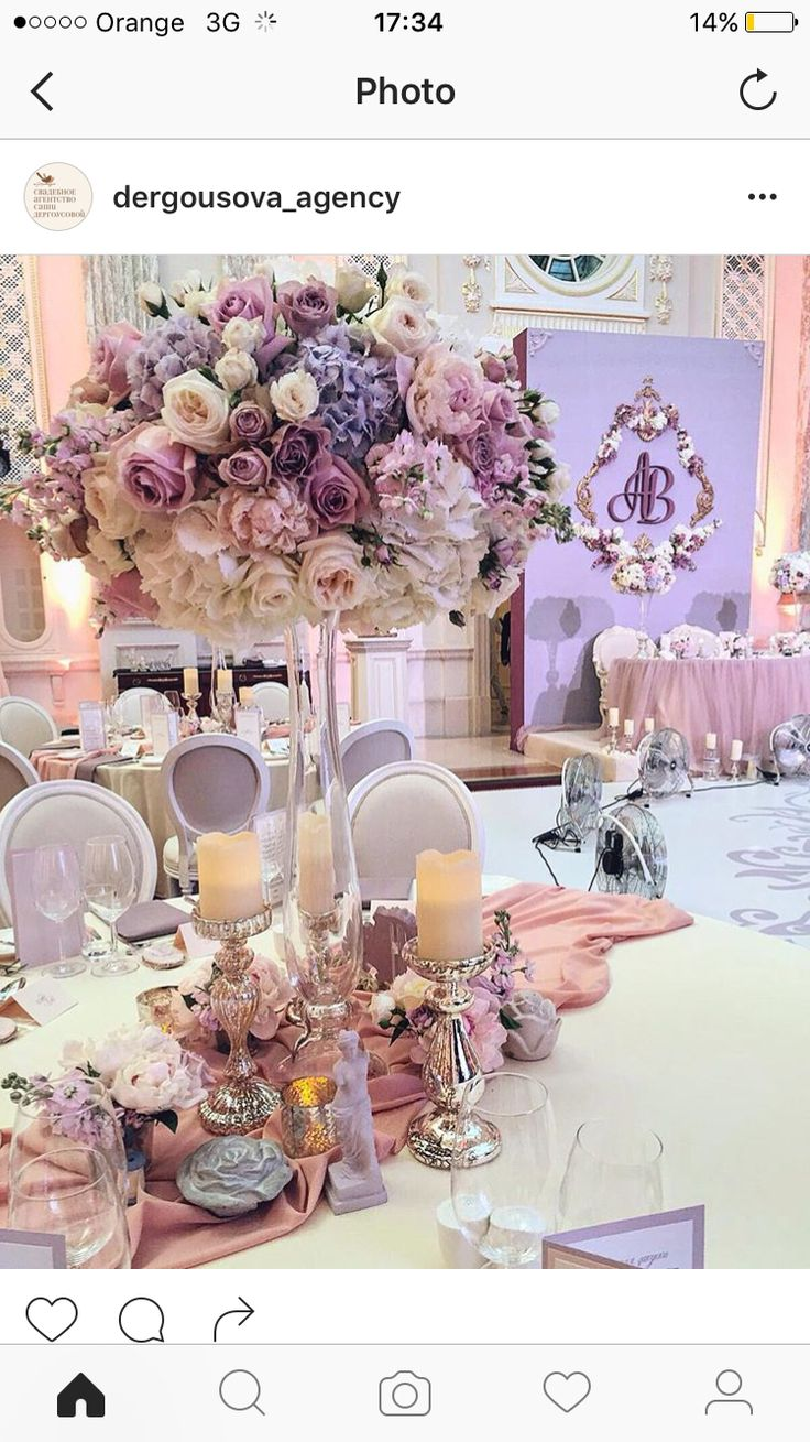 Romantic glam pink and lavender tall wedding centerpieces
