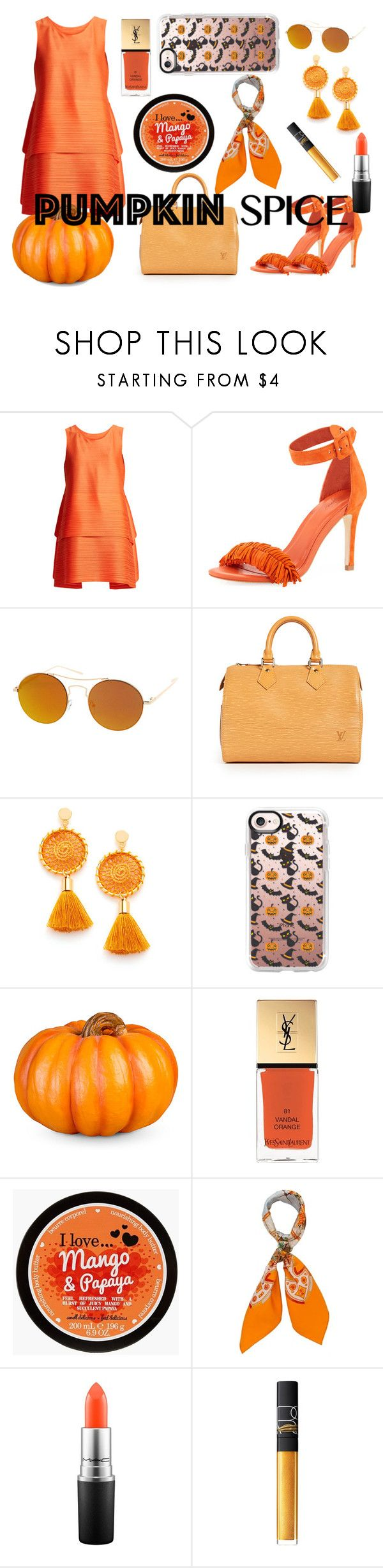 """""""Pumpkin Spice"""" by fashionpolyvore112num2 on Polyvore featuring Pleats Please by Issey Miyake, Joie, SW Global, Casetify, Improvements, Yves Saint Laurent, Hermès, MAC Cosmetics and NARS Cosmetics"""