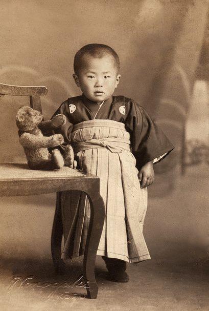 +~+~ Antique Photograph ~+~+  Adorable Japanese boy with his teddy bear.
