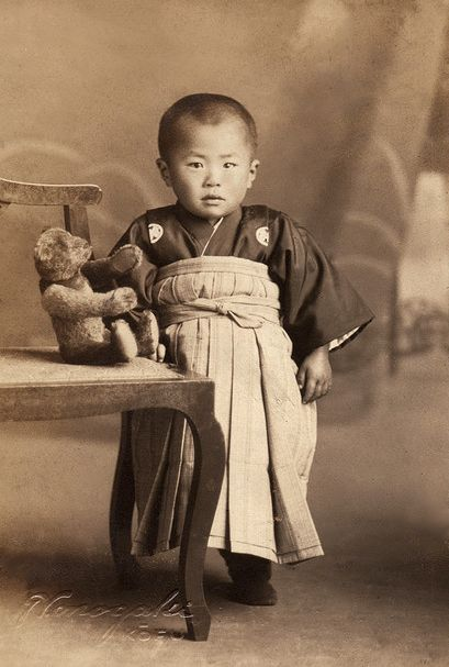 +~+~ Antique Photograph ~+~+  Adorable Japanese boy with his teddy bear. Teddy Bears were first made in the 1900's: