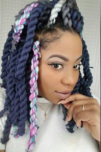 Taste The Rainbow  - 21 Beautiful Black Women Slaying In Yarn Twists, Braids and Locs