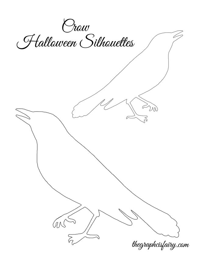Halloween Window Silhouette Templates - crows    |  The Graphics Fairy