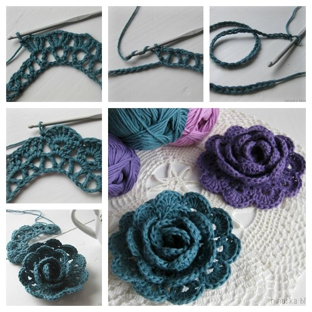 Crochet Lace Rose Flower