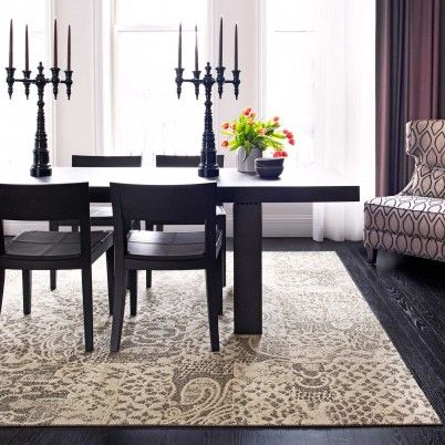 Love The Rug With Dark Floor And Table Nice Contrast