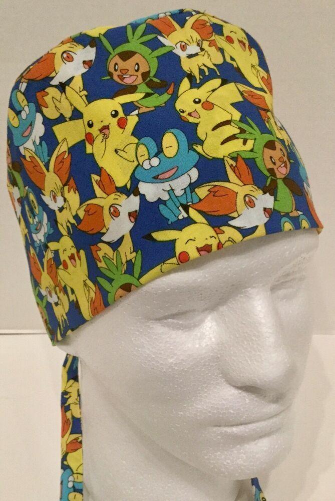 50ec587c533 Pokémon Print Size Large Medical Skull Scrub Cap Surgery Hat  Handmade
