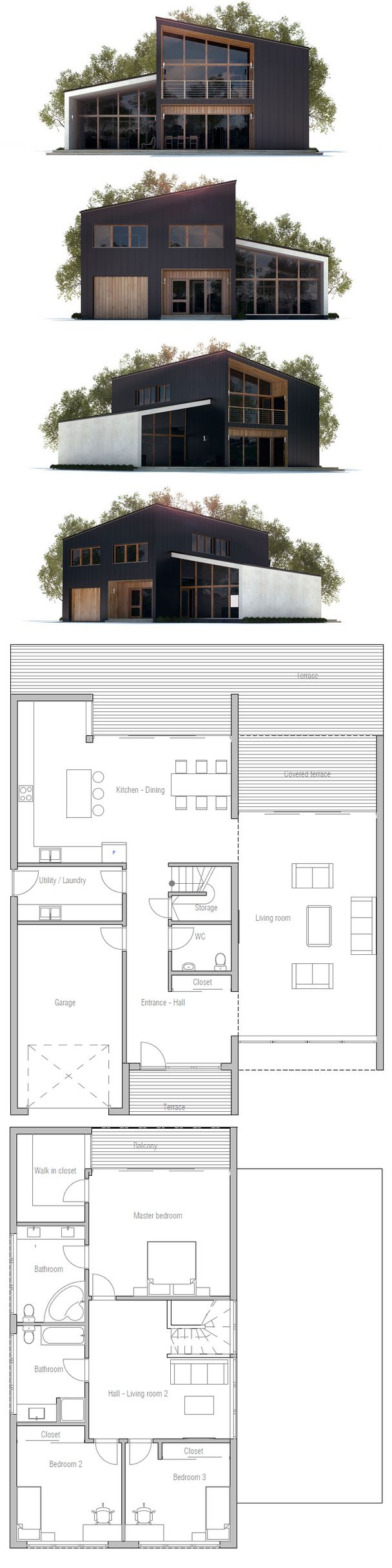 House Plan in Modern Architecture, three bedrooms, garage, two living areas, high ceiling in the living room