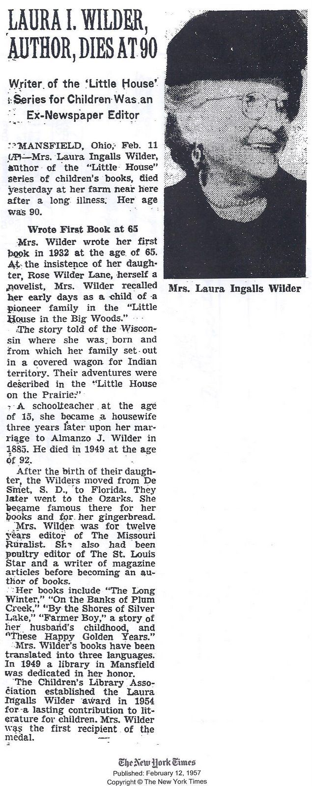 Obituario de Laura Ingalls Wilder en 1957.