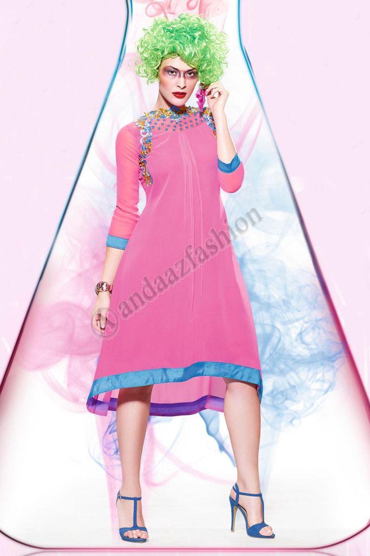 Rose Georgette net Kurti Conception No. DMV12805 Prix:- £35.00 Andaaz Fashion Designer New presente d arrivee Rose Georgette net Kurti. Agrementee de Resham brode. Cette conception est parfaite pour le Parti, Festival, Casual. @http://www.andaazfashion.fr/pink-georgette-net-kurti-dmv12805.html