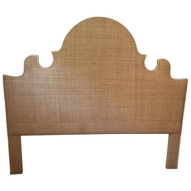 Image of Raffia Cal-King Headboard with White Piping