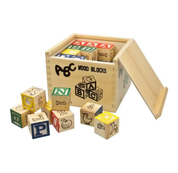 Kids ABC Wooden Blocks (48pc). This classic children's favourite contains 48 small square wooden building blocks featuring the alphabet, numbers, and various sma
