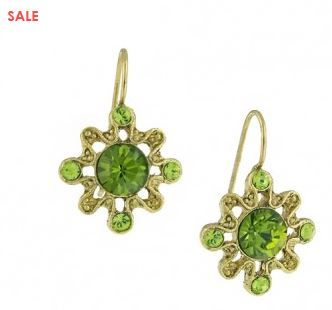 Gold-Tone Green Drop Earrings Jewelry Great for St. Patrick's Day Now 50% Off only $8.00