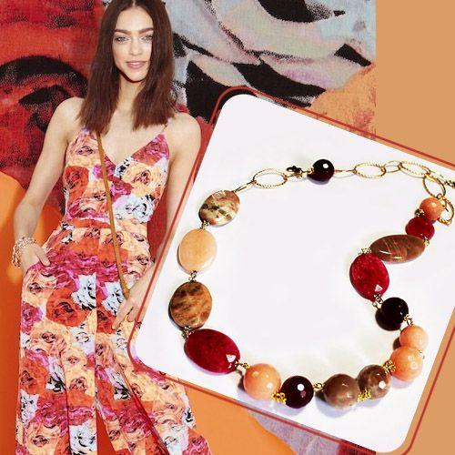 #Collana Lunga Metallo Anallergico Colore Rosa con #Quarzo Ciliegia e Rutilato, #Pietra-di-Luna