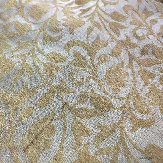 Beige and Gold Soft Jacquard Fabric by Yard by DesiFabrics