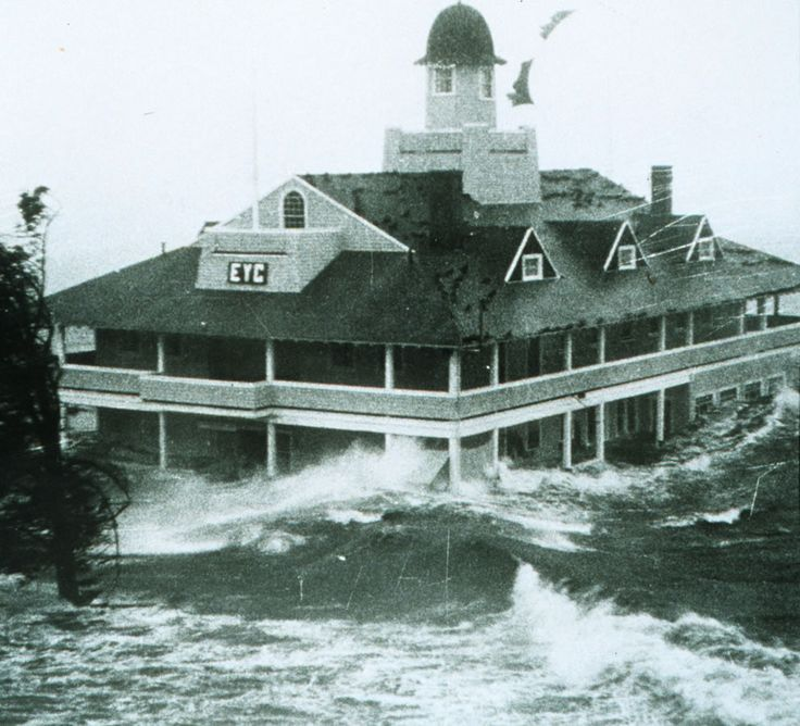 1969 – Storm surge from Hurricane Carol lashes Rhode Island Yacht Club. Photo #31 by Providence Journal Co. / NOAA / NWS