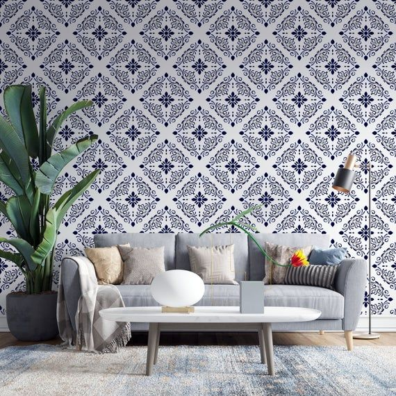 Blue Geometric Pattern Removable Wallpaper Peel And Stick European Tiles Pattern Wallpaper For Dining Room Bathroom Living Room Home Decor Home Goods Decor Home Wallpaper