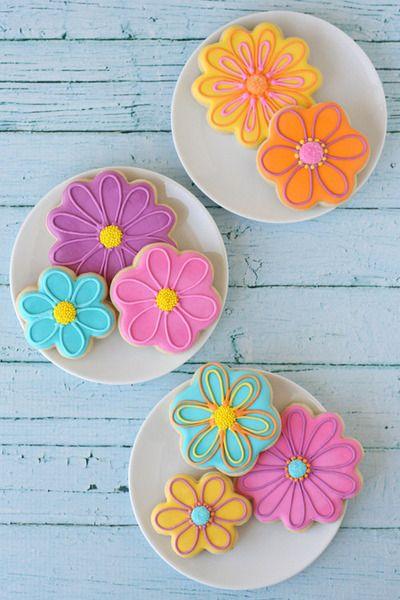 Modern Flower Cookies~        By a quieter storm, Neon, pink, Orange, Blue, Purple