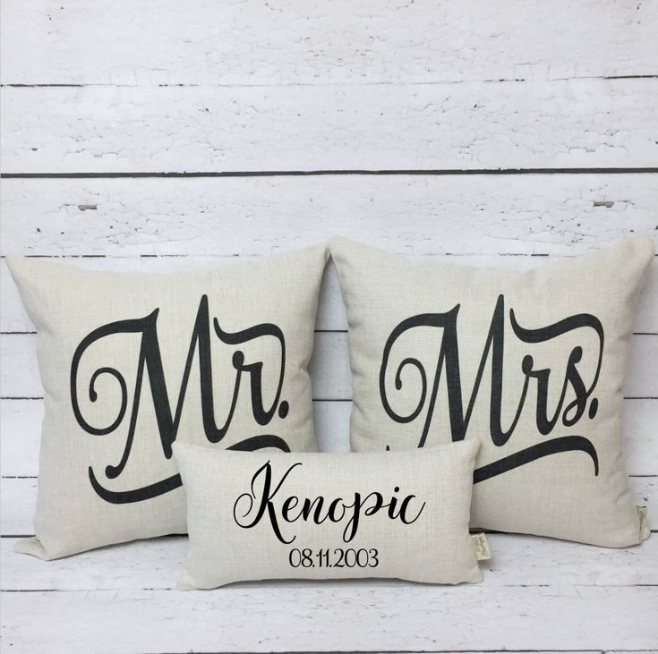 A personal favorite from my Etsy shop https://www.etsy.com/ca/listing/573076064/mr-and-mrs-pillow-cover-set-anniversary