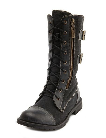 Lace-up Double Buckle Combat Boots    Just bought these ahh