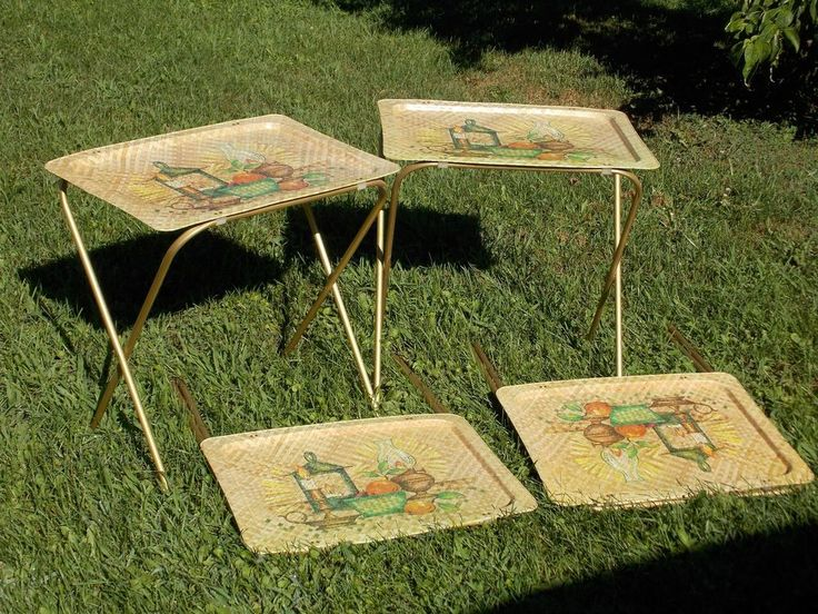 Vintage Midcentury Metal Basket Wicker TV Trays Tray Set Of 4 Marked LaVada  | Tv Trays And Metal Baskets